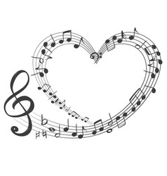 musical notes in form a heart icon love vector image