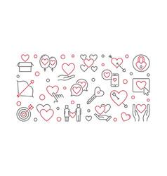 Obsessive love concept banner in outline vector