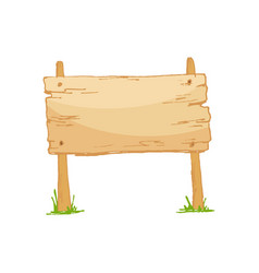old wooden blank cartoon sign board with grass vector image