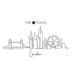 one single line drawing london city skyline vector image