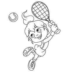 Outlined tennis girl vector