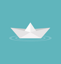 Paper boat origami on water wave icon vector