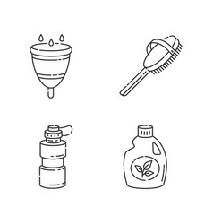 Personal eco products linear icons set vector
