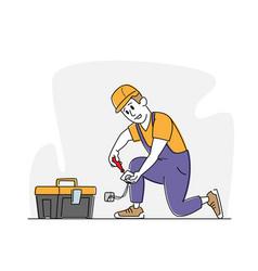 Professional electrician repairing socket master vector