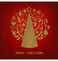 Red Merry Christmas Vintage Card vector