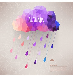 Retro cloud with rain symbol hipster background vector image