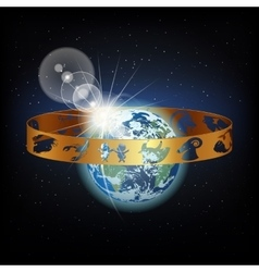 ring with signs of the zodiac in space earth vector image