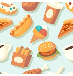 Seamless pattern with fast food icons vector