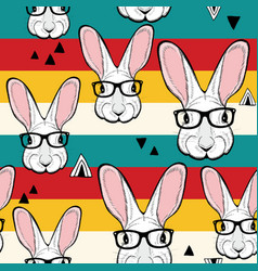Seamless pattern with stripes and white rabbits in vector