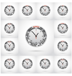 Set of clock red arrow specifies in a word vector image