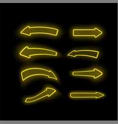 set of different neon yellow arrows vector image
