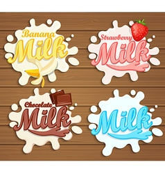 Set of milk label designs vector