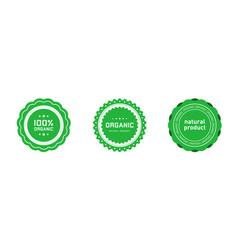 Set organic 100 percent natural product badges vector