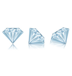 set realistic diamonds with reflection vector image