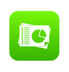 sheets of paper with charts icon digital green vector image
