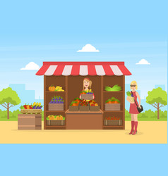 smiling saleswoman selling fresh organic vector image