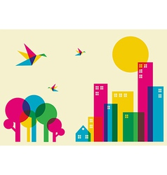 Spring time city vector image