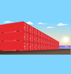 stacked freight containers at a sea port dock vector image