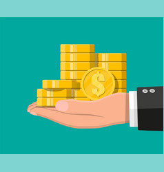 stacks of gold coins in hand vector image
