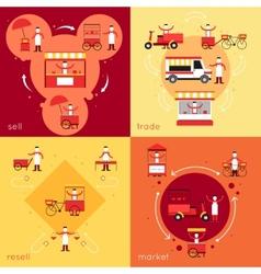 Street food flat set vector image