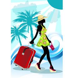Summer traveling woman vector