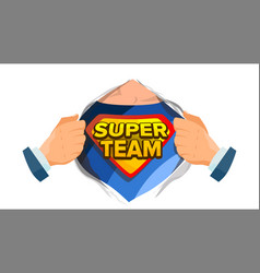 super team sign superhero open shirt with vector image