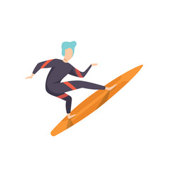 surfer guy in swimwear riding a surfboard young vector image