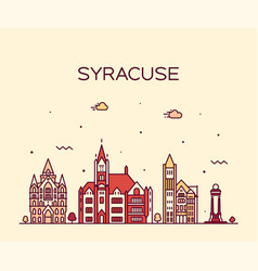 syracuse skyline new york usa linear style vector image