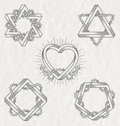 Tattoo style line art shape vector