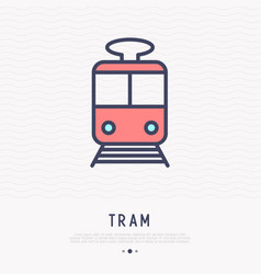 Tram thin line icon front view vector