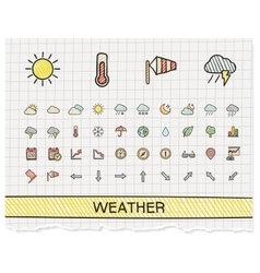 Weather hand drawing line icons doodle vector image