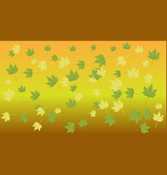 yellow green leaves on a yellow background vector image