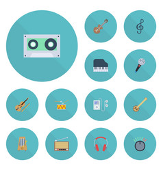 flat icons acoustic fiddle octave keyboard and vector image vector image