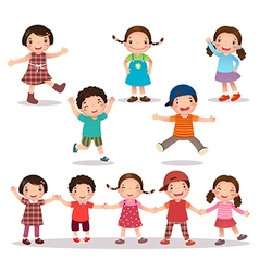 Happy kids cartoon holding hands and jumping vector image vector image