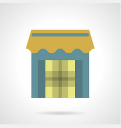 store with awning flat color icon vector image