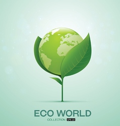 world on leaf eco world vector image