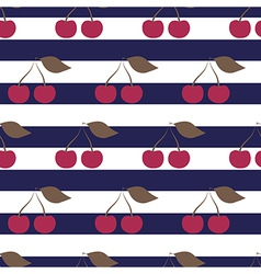 Cherry seamless pattern on striped background vector image vector image