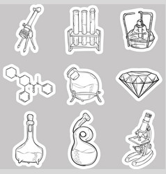 doodle lab equipment stickers vector image