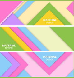 Set of three horizontal material design banner vector