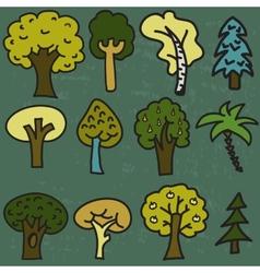 set of twelve cute cartoon hand-drawn trees vector image vector image