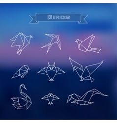 Set polygonal birds vector image vector image