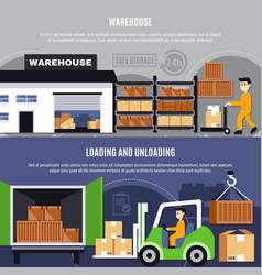 warehouse flat composition set vector image vector image