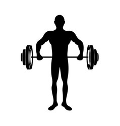 black silhouette muscle man lifting a disc weights vector image vector image