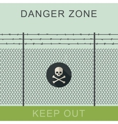 Danger zone and skull sign vector image