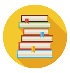 Flat Books with Bookmarks Circle Icon with Long vector image