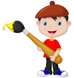 Little boy cartoon is painting with paintbrush vector image