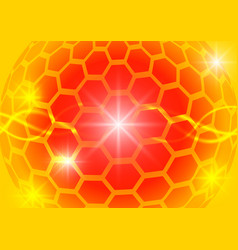 orange hexagon circle and light abstract vector image vector image