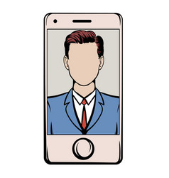 smart phone with a skype video icon cartoon vector image