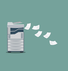 working copier printer with paper document vector image