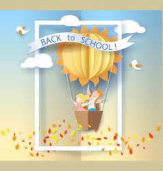 back to school card with kids leaves and sun vector image vector image